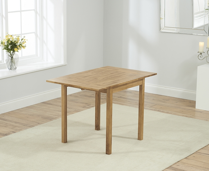 Mark Harris Promo Oak Square Drop Leaf Extending Dining Table and 2 Atlanta Cream Faux Leather Chairs