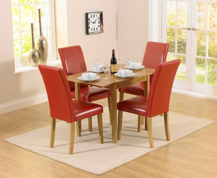 Mark Harris Promo Oak Square Drop Leaf Extending Dining Table and 2 Atlanta Red Faux Leather Chairs