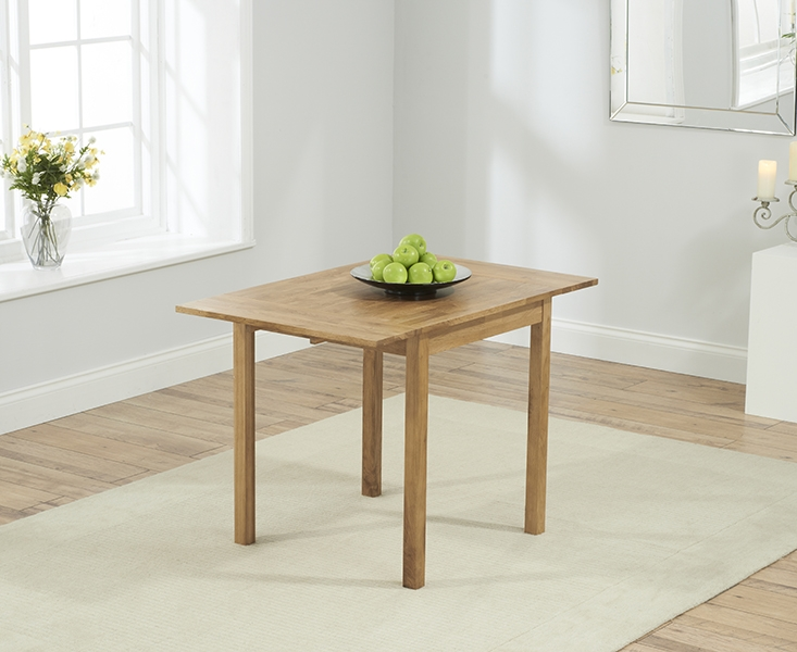 Mark Harris Promo Oak Square Drop Leaf Extending Dining Table and 2 Maiya Cream Chairs