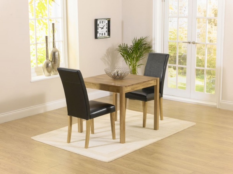 Mark Harris Promo Oak Square Dining Table and 2 Atlanta Black Faux Leather Chairs