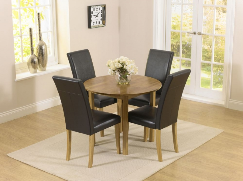 Mark Harris Promo Oak Round Drop Leaf Extending Dining Table and 2 Atlanta Brown Faux Leather Chairs