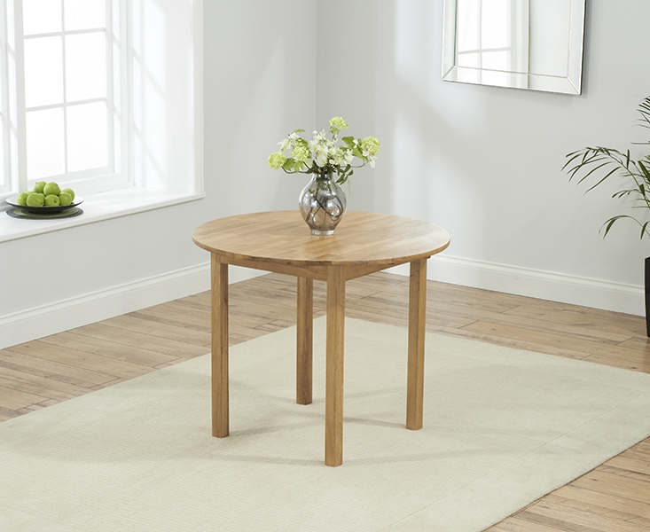 Mark Harris Promo Oak Round Drop Leaf Extending Dining Table and 2 Maiya Brown Chairs