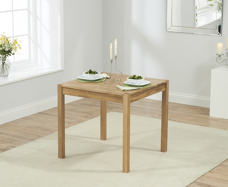 Mark Harris Promo Oak Square Dining Table and 2 Brown Chairs