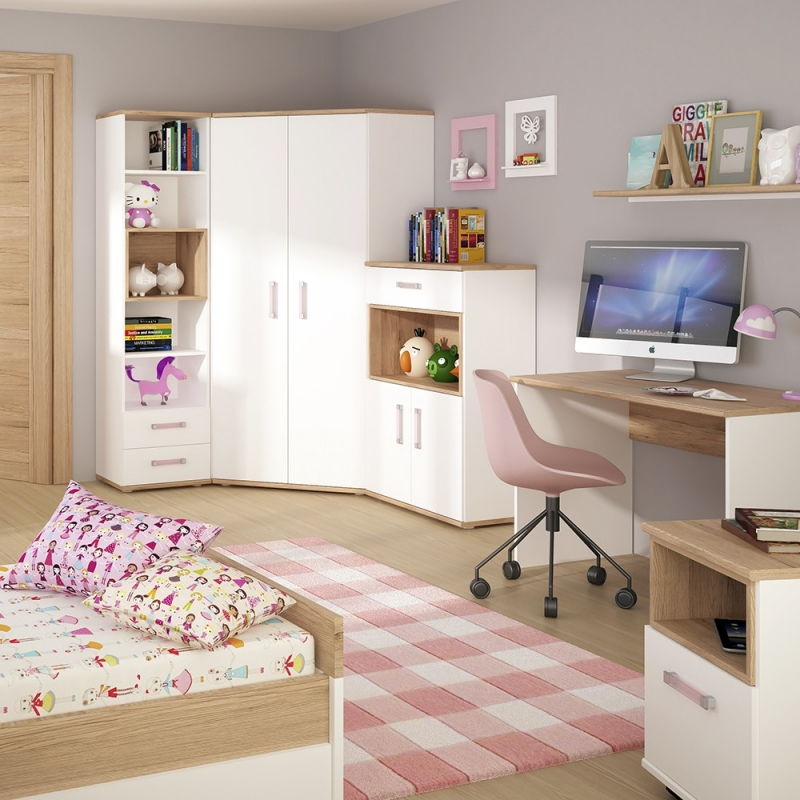 4Kids Tall Cupboard with Lilac Handles - Light Oak and White High Gloss