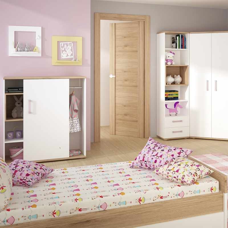 4Kids Low Cabinet with Lilac Handles - Light Oak and White High Gloss