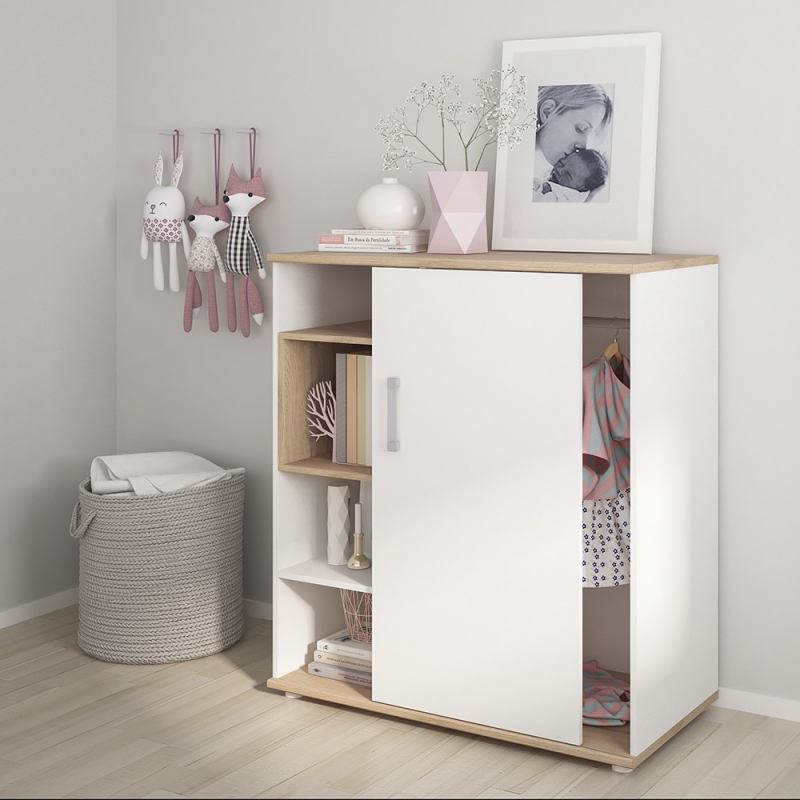 4Kids Low Cabinet with Opalino Handles - Light Oak and White High Gloss