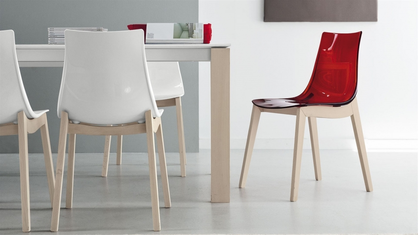 Connubia Led W Solid Wood and Technopolymer Dining Chair (Pair)