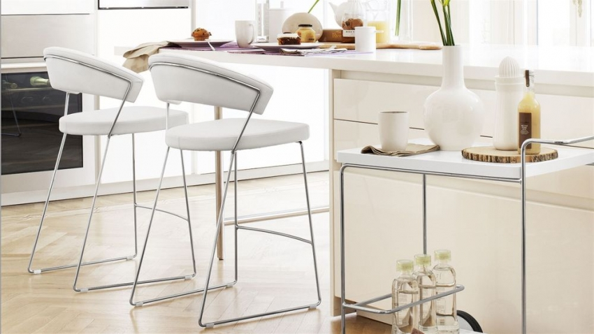 Connubia New York Metal Upholstered Bar Stool with Footrest CB1087-LH