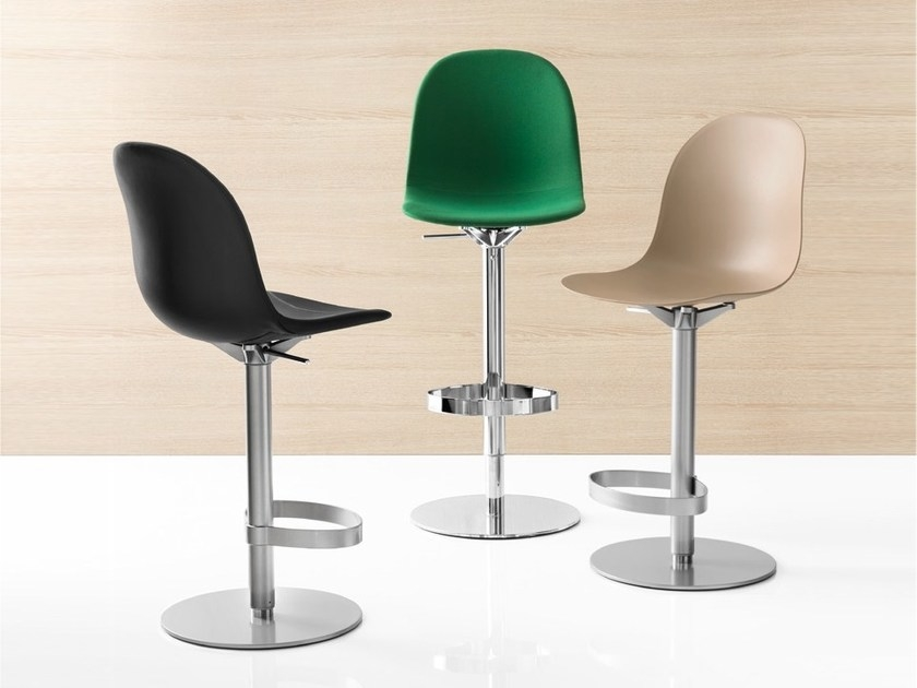 Connubia Academy Metal and Leather Swivel High Bar Stool with Footrest CB1676-Ekos