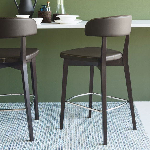 Connubia Siren Ekos Taupe and Beech Walnut Bar Stool with Footrest