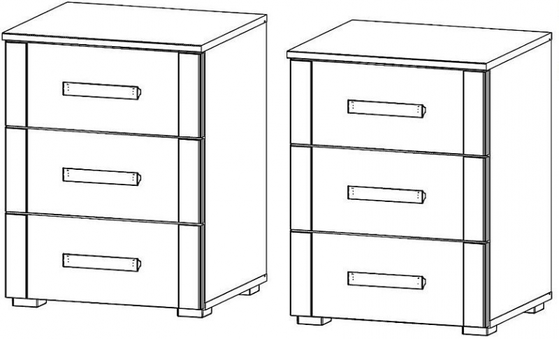 Rauch Rivera 3 Drawer Bedside Cabinet in Sonoma Oak - (Pair)