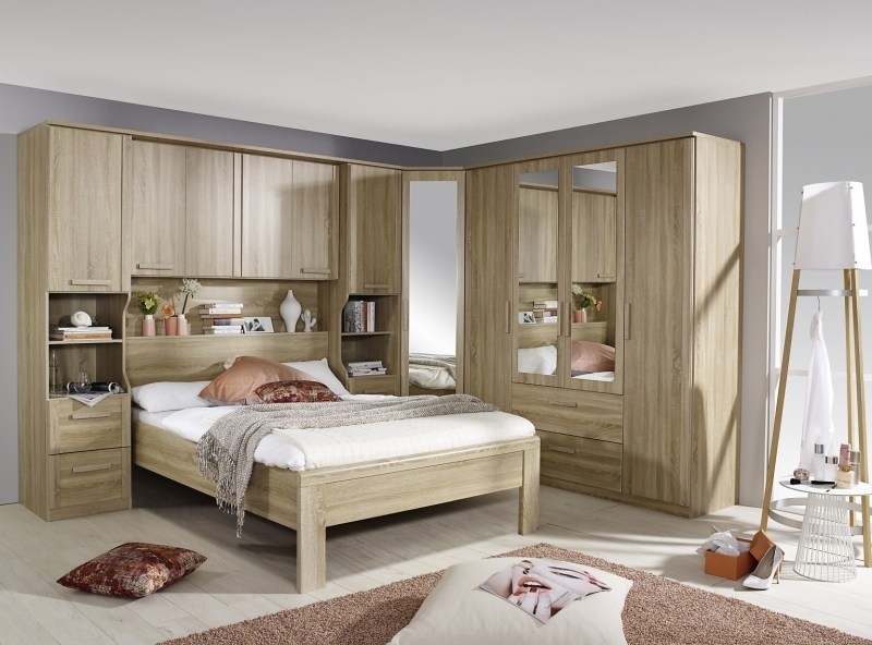 Rauch Rivera 1 Left Mirror Door 2 Drawer Combi Wardrobe with Cornice in Sonoma Oak