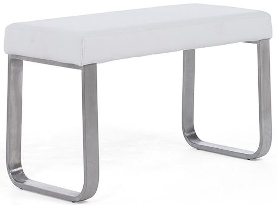 Mark Harris Ava White Faux Leather Small Bench