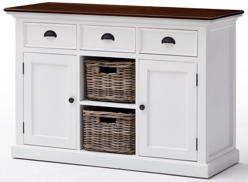 Nova Solo Halifax White Painted 2 Baskets Accent Buffet