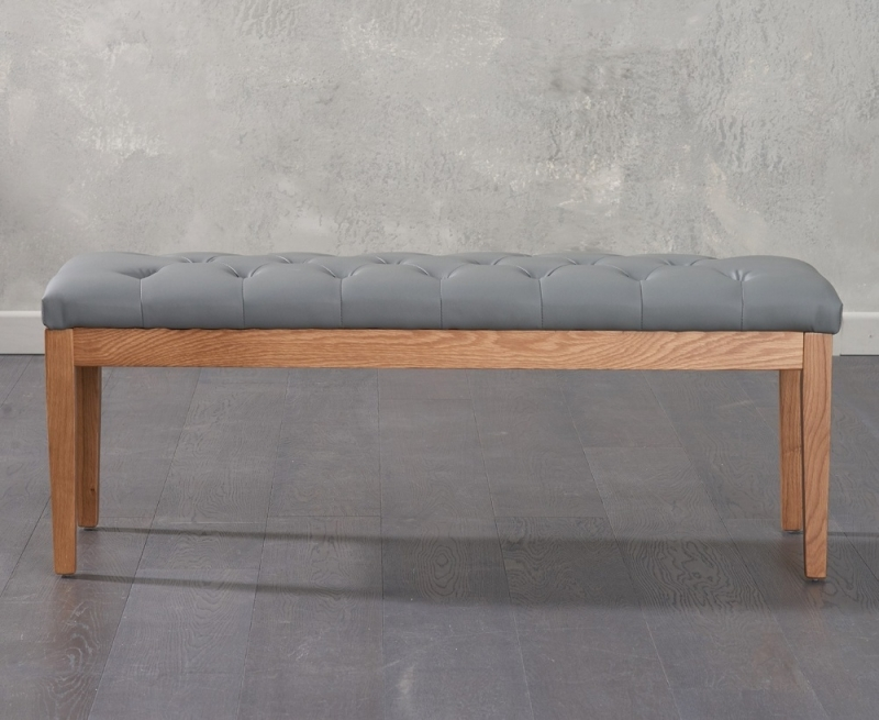 Mark Harris Courtney Grey Faux Leather Dining Bench