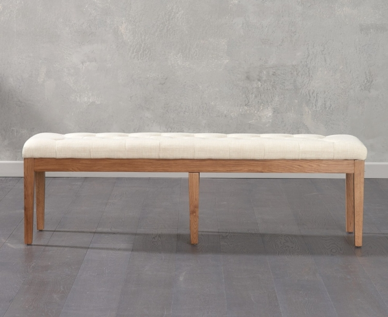 Mark Harris Courtney Beige Fabric Large Dining Bench