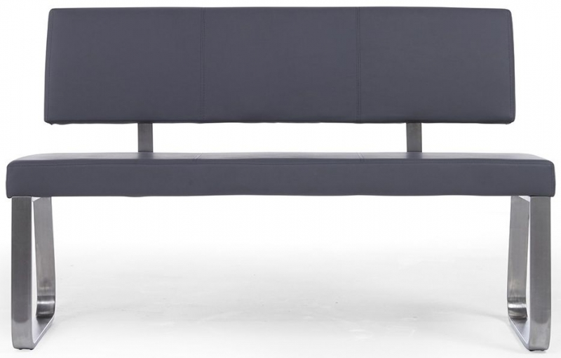 Mark Harris Malibu Grey Faux Leather Large Bench with Back