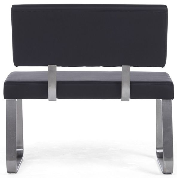 Mark Harris Malibu Black Faux Leather Small Bench with Back