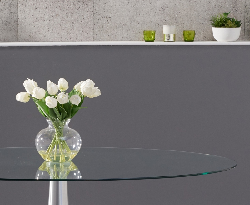 Mark Harris Pria Oval Dining Table - Glass and Chrome