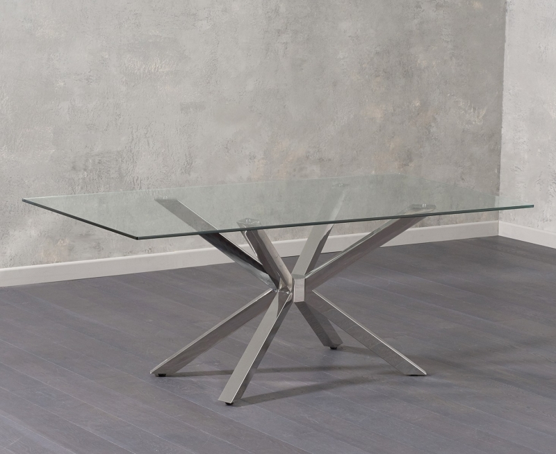 Mark Harris Renato Dining Table - Glass and Chrome