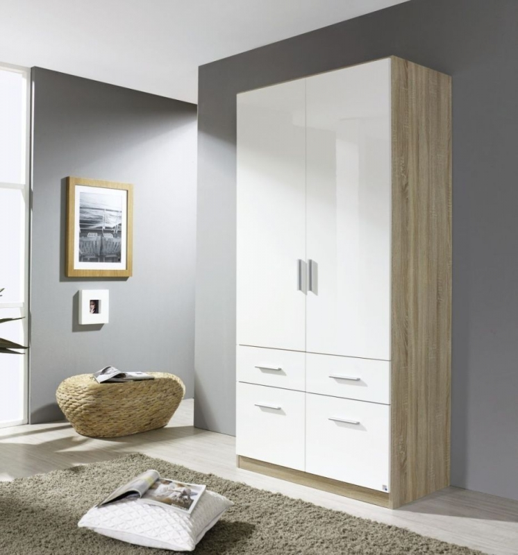 Rauch Celle 2 Door Wardrobe in Sonoma Oak and High Gloss White - W 91cm