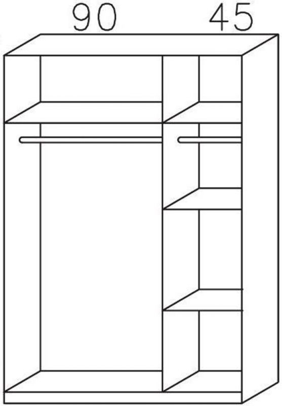 Rauch Celle 3 Door Wardrobe in Sonoma Oak and High Gloss White - W 136cm