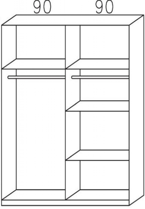 Rauch Celle 4 Door Wardrobe in Sonoma Oak and High Gloss White - W 181cm