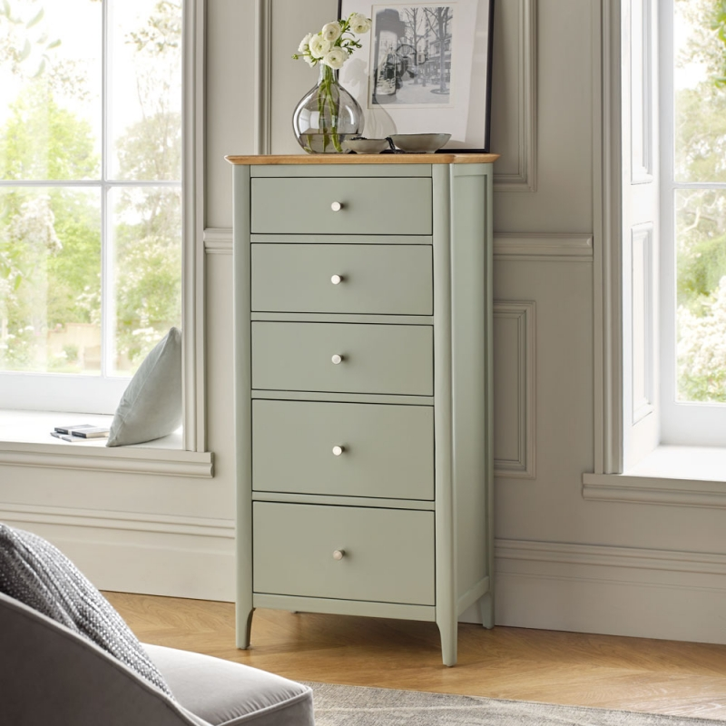 Buy Ancona Sage Green Painted 5 Drawer Tall Chest Online