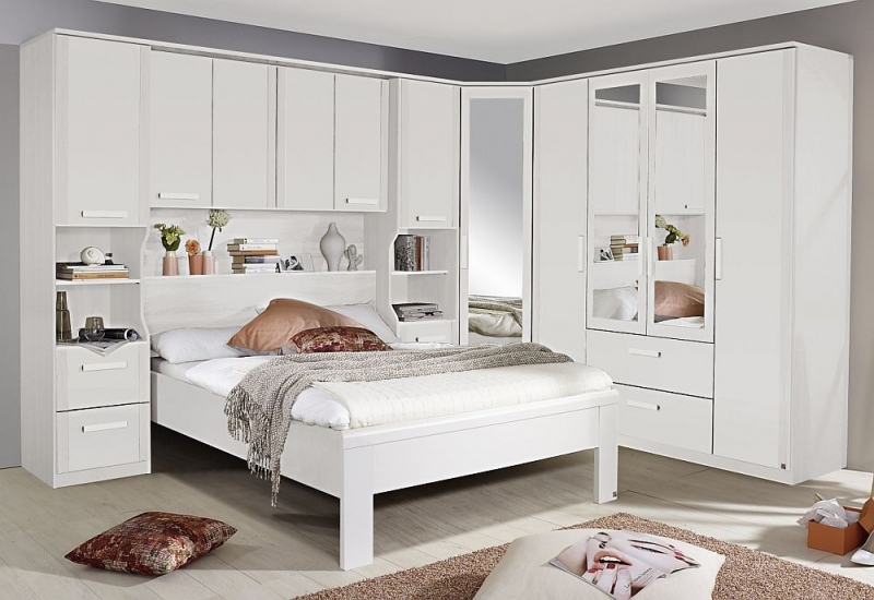 Rauch Rivera 2 Door 1 Right Mirror 2 Drawer Combi Wardrobe with Cornice in Alpine White
