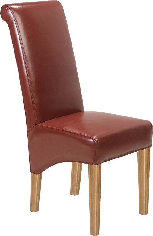 Carlota Oak Bonded Red Leather Dining Chair (Pair)