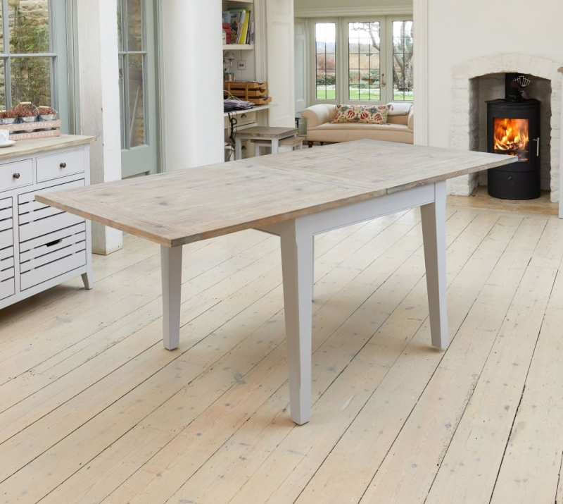 Baumhaus Signature Grey Painted Square Extending Dining Table