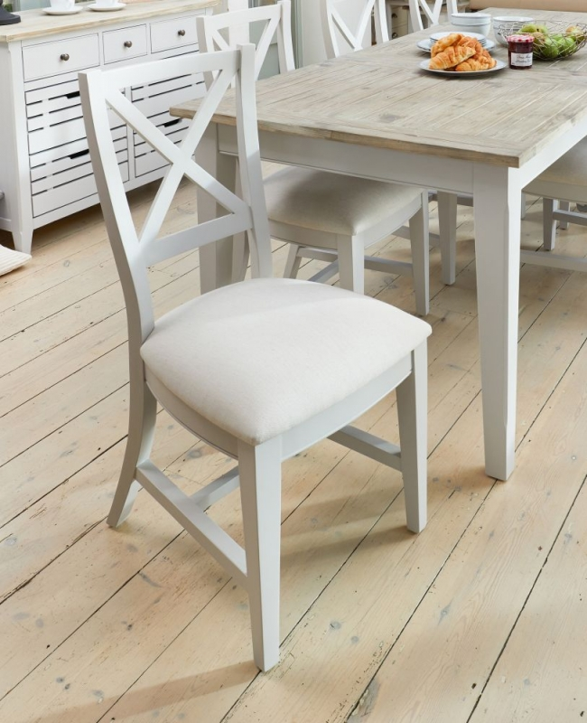 Baumhaus Signature Grey Painted Fabric Dining Chair (Pair)