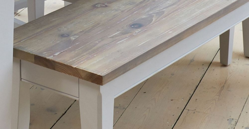 Baumhaus Signature Grey Painted Dining Bench