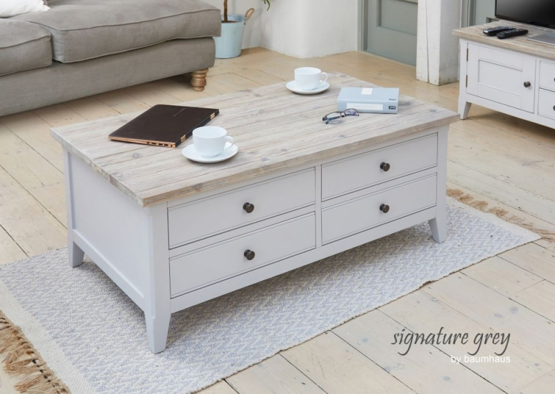 Baumhaus Signature Grey Painted 4 Drawer Coffee Table