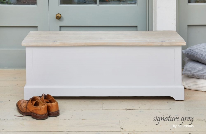 Baumhaus Signature Grey Painted Hallway Storage Bench