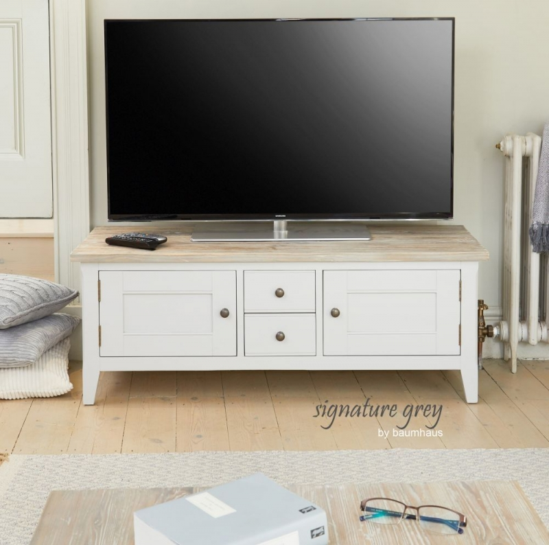 Baumhaus Signature Grey Painted 2 Door 2 Drawer TV Stand
