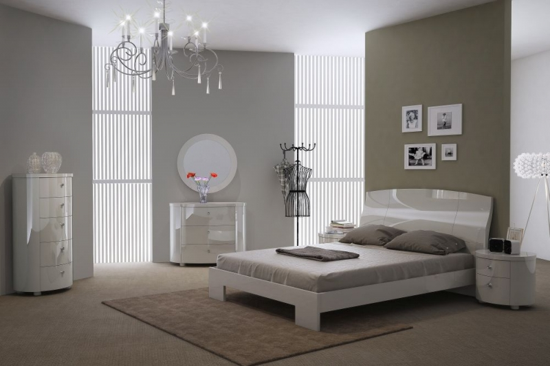 Velour White High Gloss Bedroom Mirror