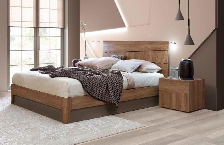 Camel Storm Night Wooden Italian Bed with Luna Storage