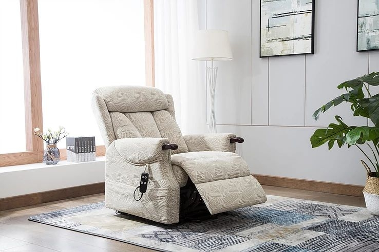 GFA Denmark Riser Recliner Chair - Brushstroke Cream Fabric
