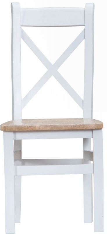 Hampstead Oak and White Painted Cross Back Wooden Seat Dining Chair (Pair)