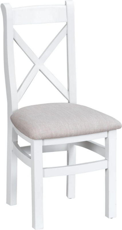 Hampstead White Painted Cross Back Fabric Seat Dining Chair (Pair)