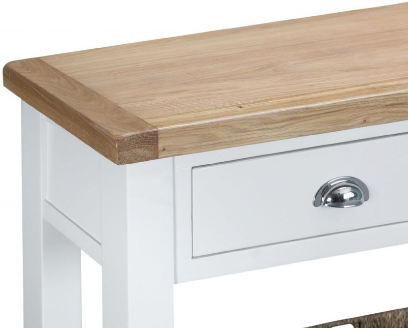Hampstead Oak and White Painted 2 Drawer Console Table