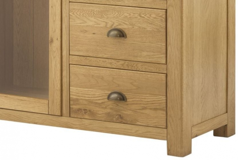 Portland Oak Grand Combined Bookcase and Display