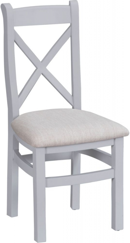 Hampstead Grey Painted Cross Back Fabric Seat Dining Chair (Pair)