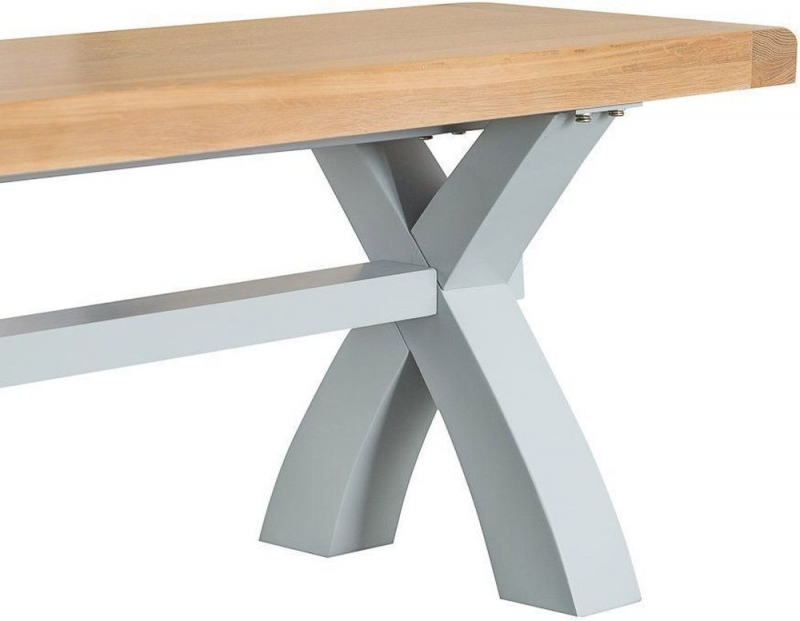 Hampstead Oak and Grey Painted Small Dining Bench with Cross Legs