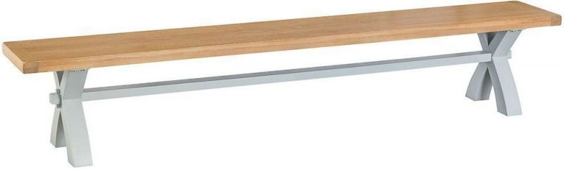 Hampstead Oak and Grey Painted Large Dining Bench with Cross Legs