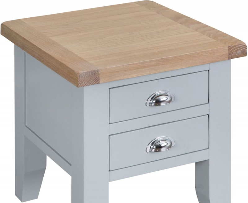 Hampstead Oak and Grey Painted 2 Drawer Lamp Table