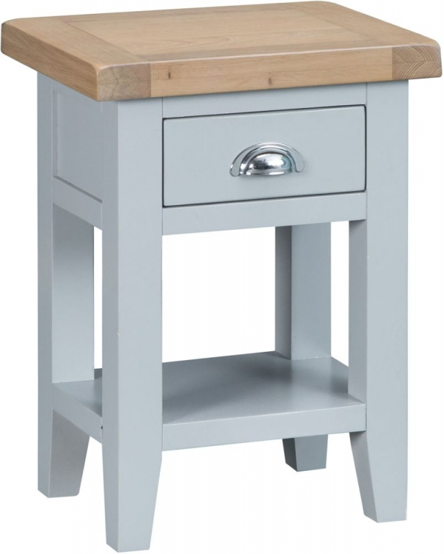 Hampstead Oak and Grey Painted 1 Drawer Side Table
