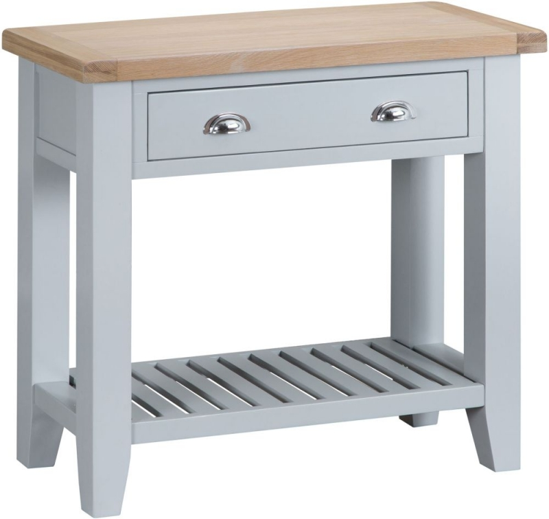 Hampstead Oak and Grey Painted 2 Drawer Console Table