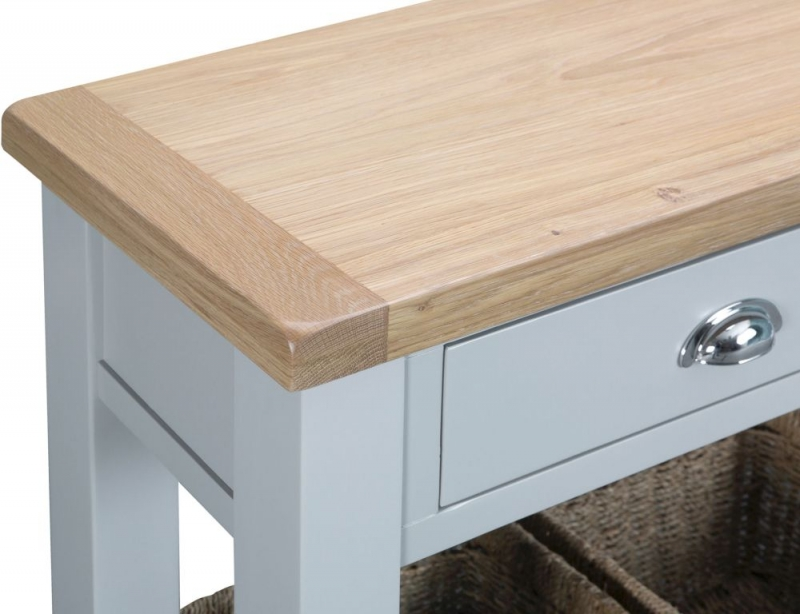 Hampstead Oak and Grey Painted 2 Drawer Large Console Table